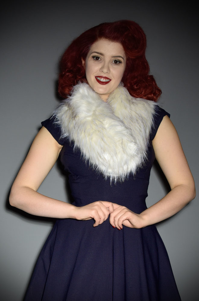 For instant vintage style, simply add some (faux) fur! The Ivory Faux Fur Collar is luxurious and timeless. Available now at Deadly is the Female.
