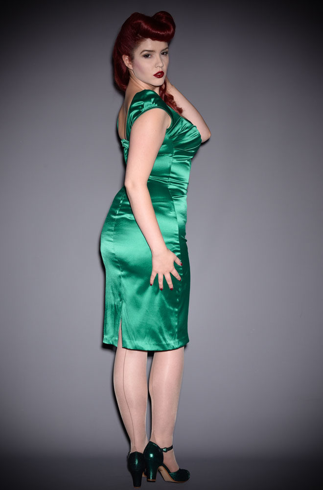 The Green Satin Billion Dollar Baby Dress is queen of the 'Cocktail Dresses'! Exclusive to Deadly is the Female, official UK stockists of Stop Staring!