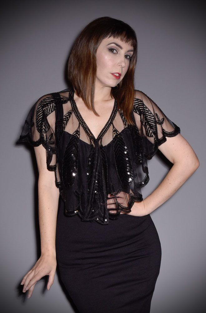 This 1920's Black Sequin Capelet is the perfect accessory by Unique Vintage at official UK stockists, Deadly is the Female.