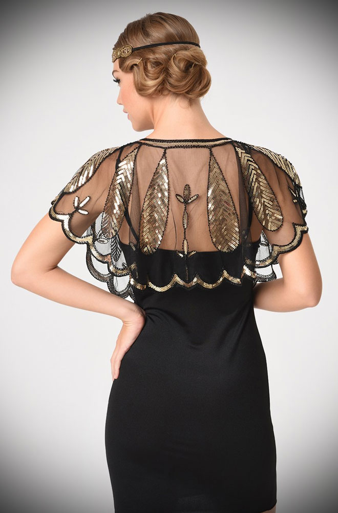 This 1920's Black and Gold Capelet is the perfect accessory by Unique Vintage at official UK stockists, Deadly is the Female.
