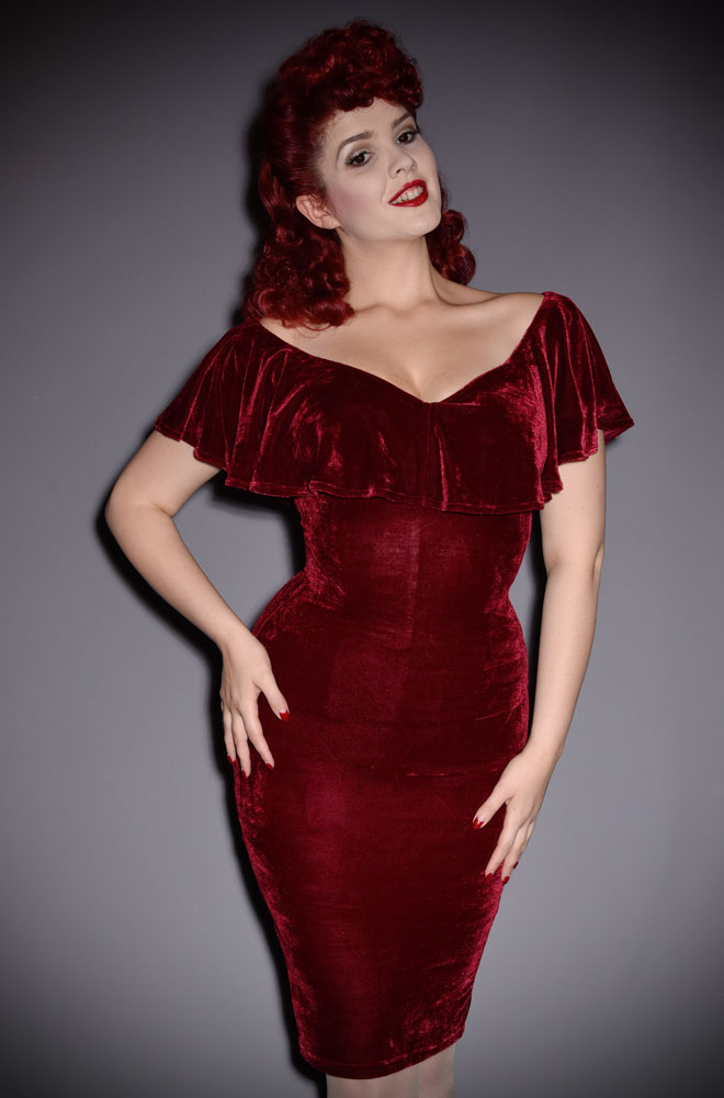 0af762ba953d17 The Burgundy Velvet Sophia Dress is a vintage style wiggle dress by Unique  Vintage at UK