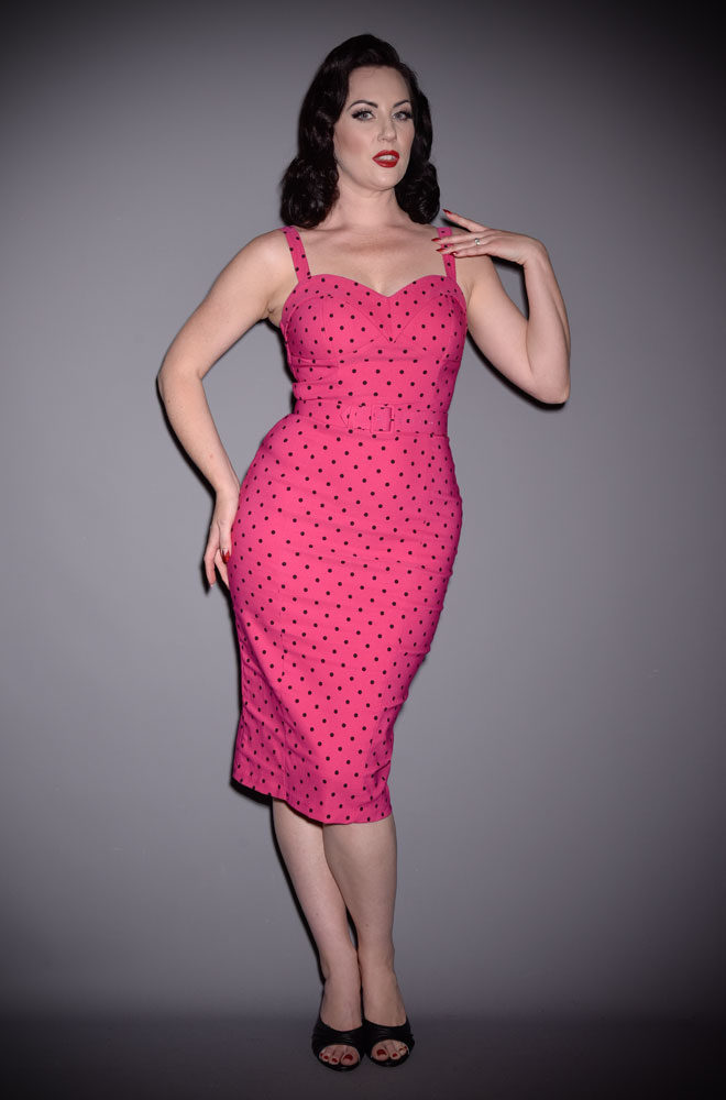 The Hot Pink Polka Dot Maneater Wiggle Dress is a real bombshell! The killer silhouette is a bad gals dream. Deadly is the Female are UK stockists of Vixen by Micheline Pitt.