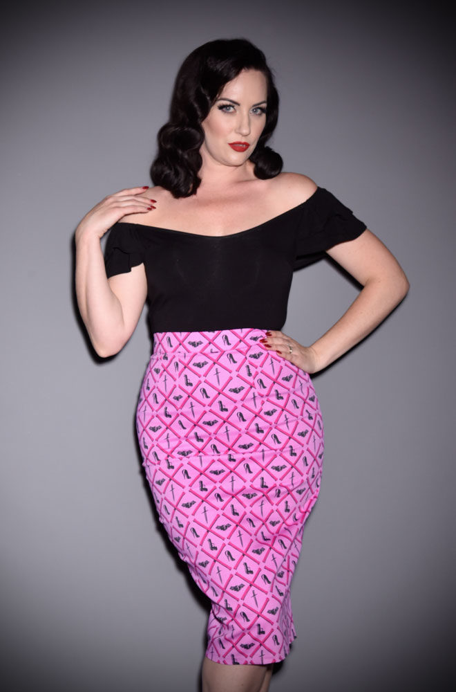 The Mean Girls Club Vixen Pencil Skirt at Deadly is the Female, UK stockists of Vixen by Micheline Pitt.Flaunt killer curves with this bad girl essential!