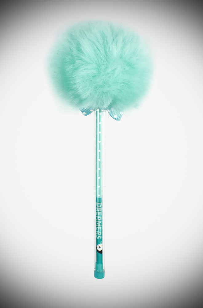 A ballpoint pen with black ink & a 1mm tip, not to mention a Turquoise pom pom on top. To carry with you wherever you go or to ideal as an original gift.