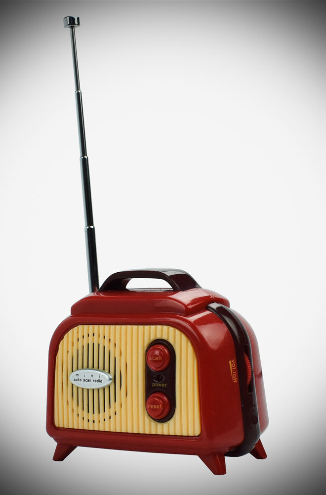 This mini FM radio is a striking, retro-style piece that you can take anywhere in the house, to the office, or just about anywhere!