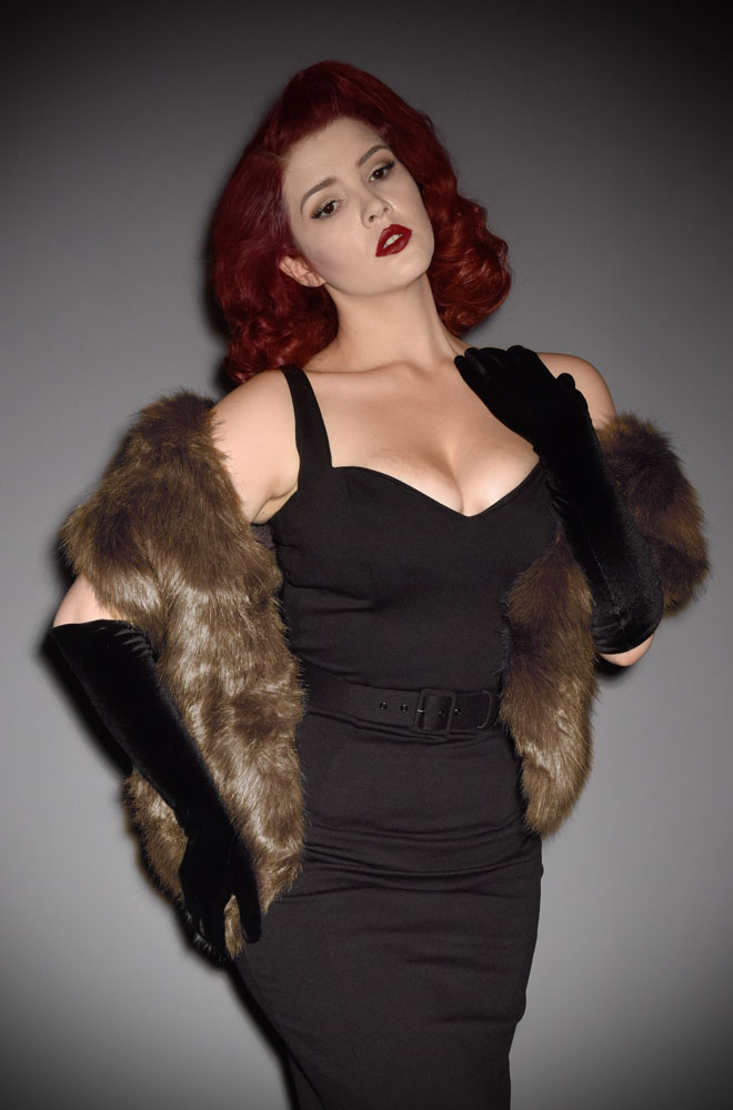 For instant vintage style, simply add some (faux) fur! The Mink Brown Faux Fur Stole is luxurious and timeless. Available now at Deadly is the Female.