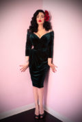 "The Hunter Green Velvet Starlet Dress is the ultimate ""Old Hollywood"" cocktail dress. Deadly is the Female are official UK stockists of Vixen by Micheline Pitt."