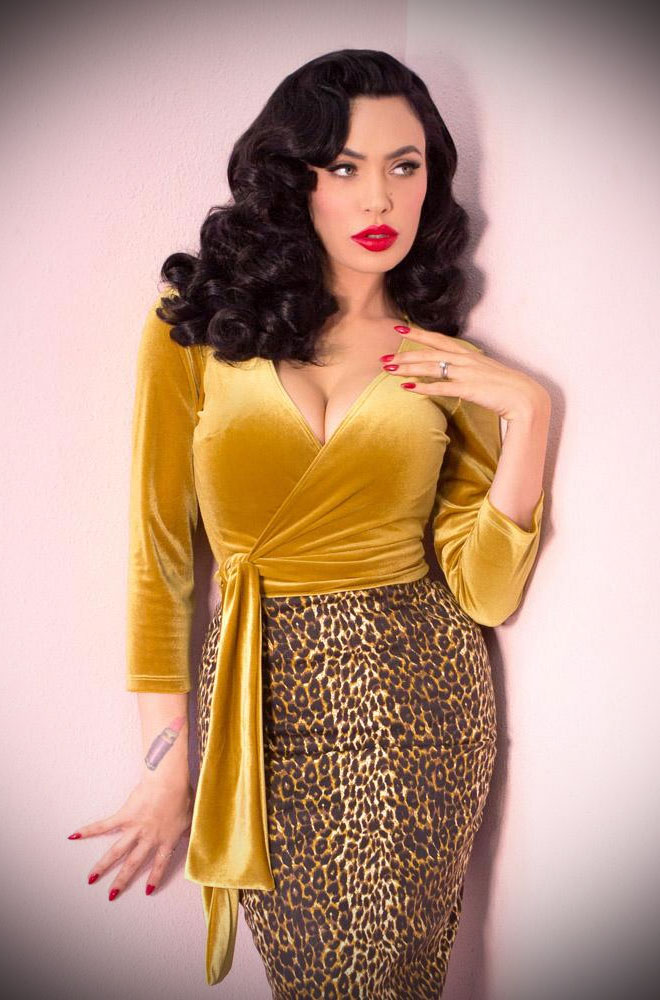 The Gold Velvet Wrap Top has arrived at Deadly is the Female, official UK stockists of Vixen by Micheline Pitt. Good things for bad girls.