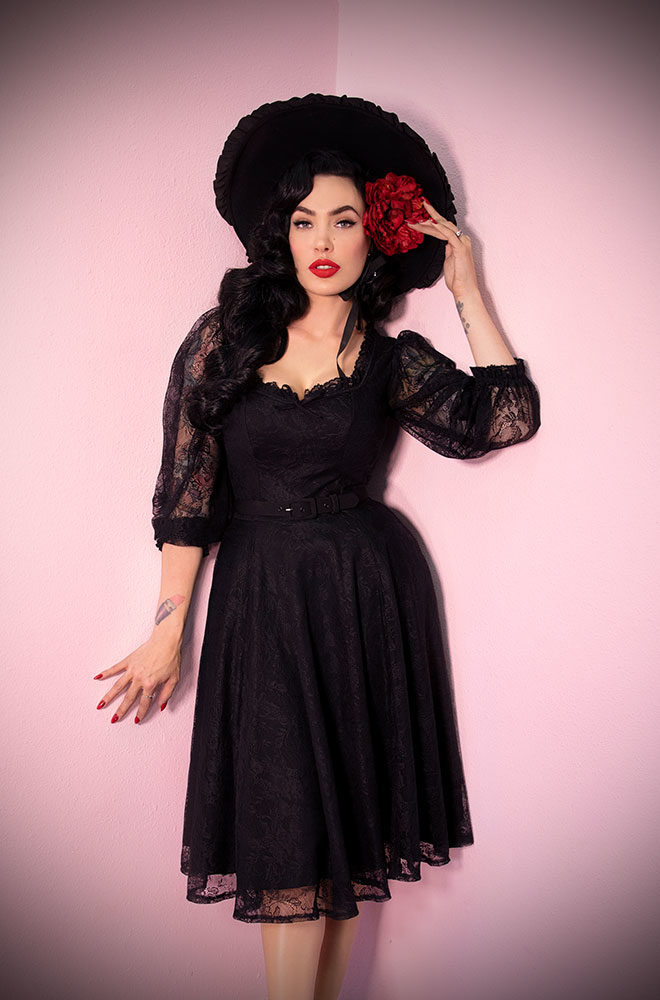 The Black Decadence Swing Dress is a stunning vintage inspired dress. Deadly is the Female are official UK stockists of Vixen by Micheline Pitt.