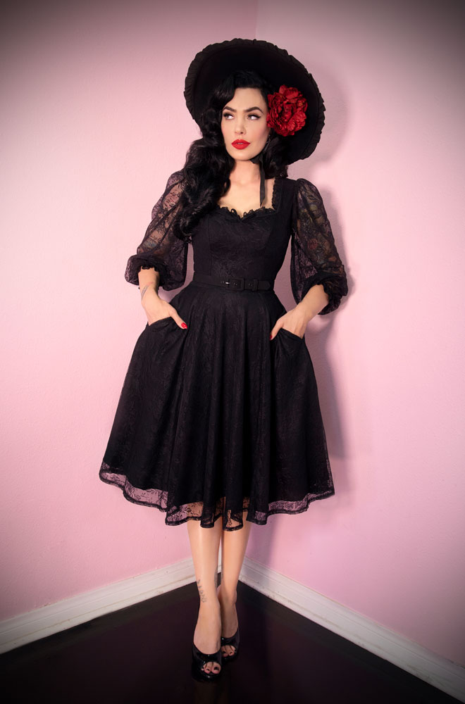 The The Black Decadence Swing Dress is a stunning vintage inspired dress. Deadly is the Female are official UK stockists of Vixen by Micheline Pitt.