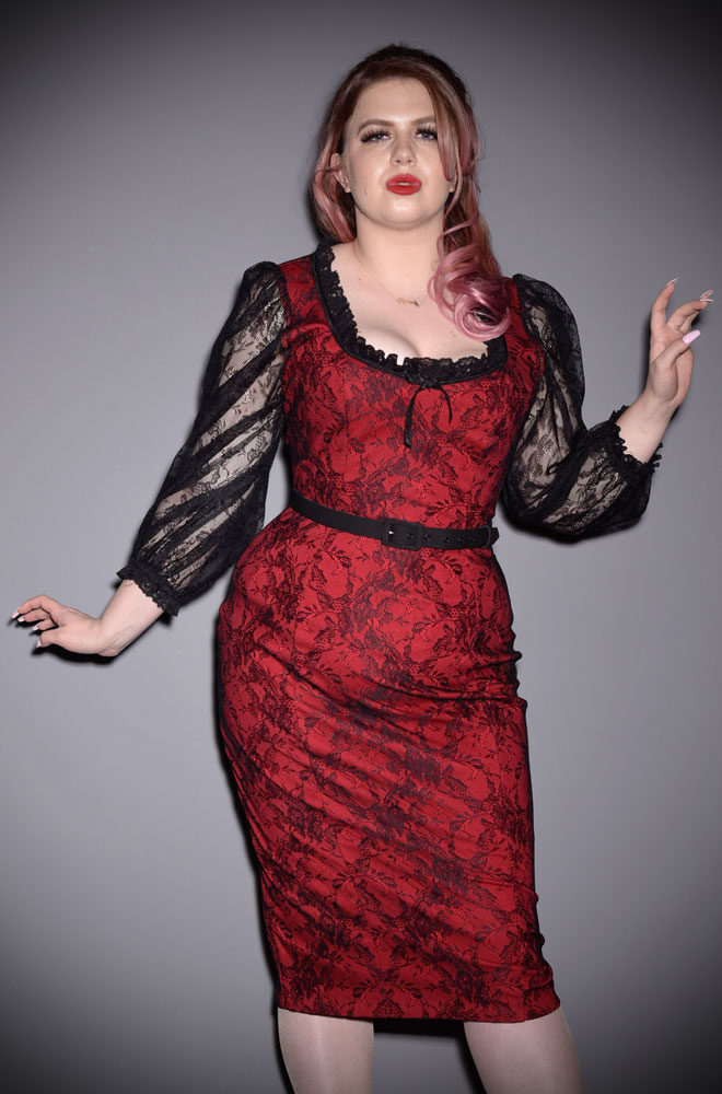 The Red Decadence Wiggle Dress is a stunning vintage inspired dress. Deadly is the Female are official UK stockists of Vixen by Micheline Pitt.