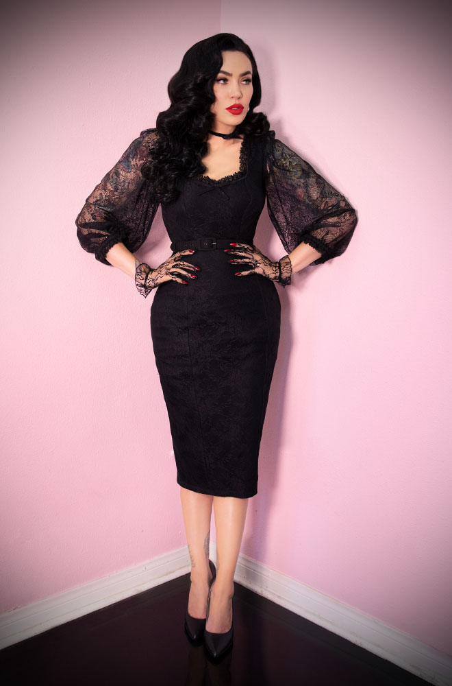 The Black Decadence Wiggle Dress is a stunning vintage inspired dress. Deadly is the Female are official UK stockists of Vixen by Micheline Pitt.