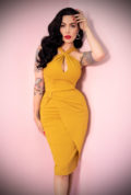 The Golden Era Dress in Gold features a matching bolero for gorgeous vintage style. Deadly is the Female are UK stockists of Vixen by Micheline Pitt.