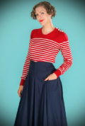 Introducing the stunning Lipstick Red Breton Stripe Jumper. It is a beautiful, vintage style wardrobe essential. Deadly is the Female are UK Stockists of Emmy Design.