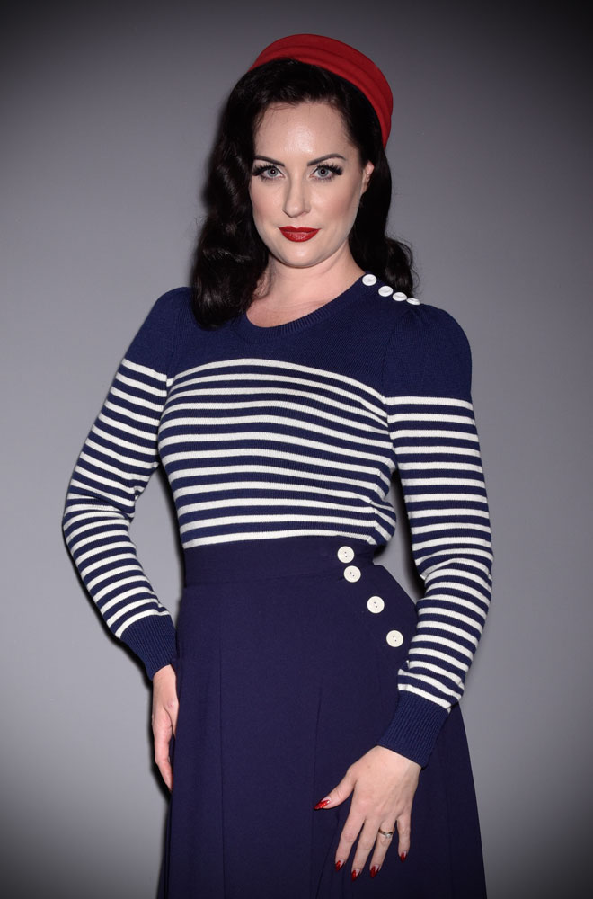 Introducing the Midnight Blue Breton Stripe Jumper. A beautiful, vintage style wardrobe essential. Deadly is the Female are UK Stockists of Emmy Design.