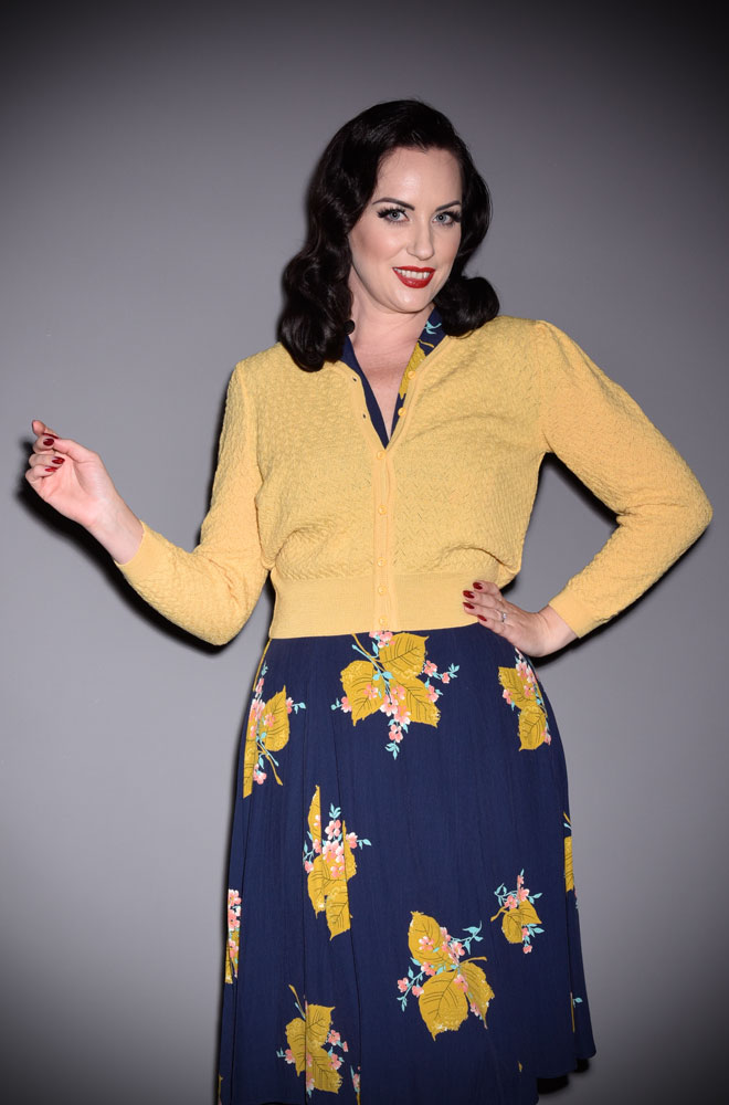 The stunning Yellow Delightful Daytime Cardigan is a beautiful wardrobe essential. Deadly is the Female are UK Stockists of Emmy Design.