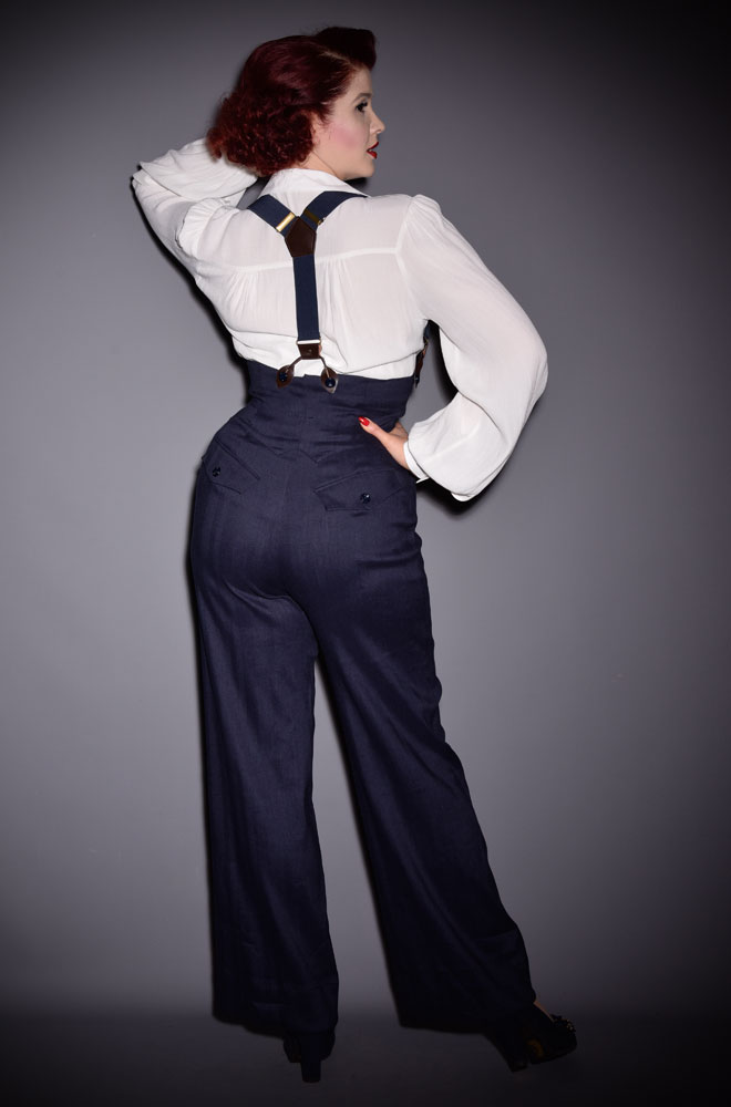 The Miss Fancy Pants Trousers are wide slacks with an extra high waist with waistcoat detailing. Deadly is the Female are UK Stockists of Emmy Design.