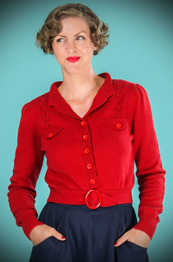 Introducing the stunning Lipstick Red Jolly Fine 40s Cardigan. It is a beautiful, vintage style wardrobe essential. We are UK Stockists of Emmy Design.