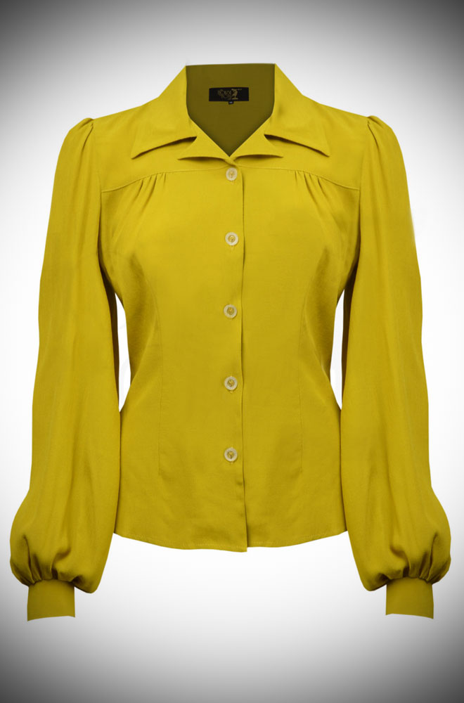 Chartreuse Gold 40s Blouse - with demure neckline, shoulder & back yokes & bishop sleeves. The neckline is faithful to the original & is surprisingly sexy