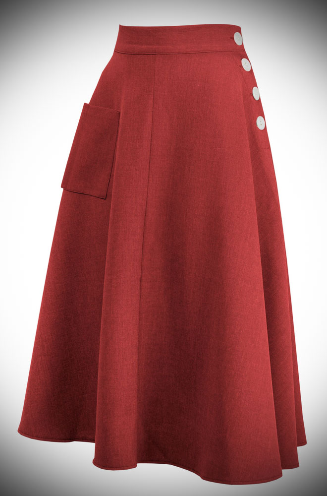 We are so excited about the graceful red 40s Whirlaway Skirt! It is so versatile and will take you from work to the dance floor with ease!