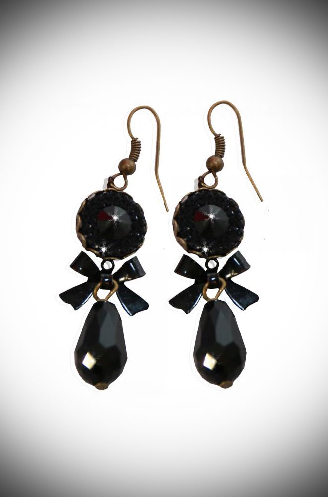 These wonderful Black Gem Earrings are a dream come true. They are simple, elegant and chic. Available now at DeadlyistheFemale.com