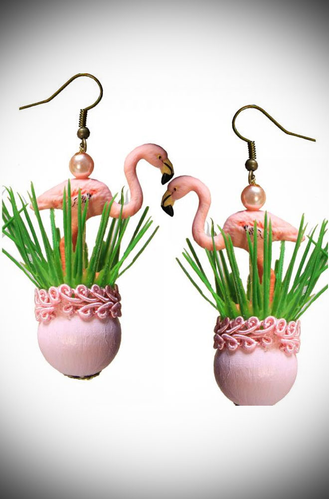 We couldn't resist these Flamingo Earrings. They are so fun and so kitsch they are sure to make everyone smile! Available now at DeadlyistheFemale.com