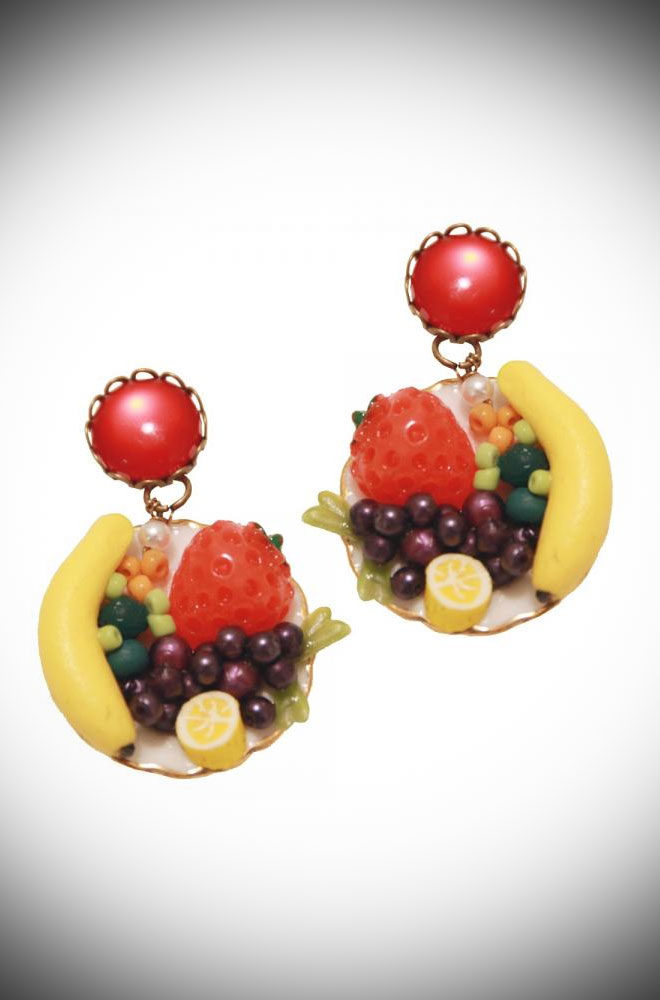 We couldn't resist these 40s style Fruit Salad Earrings. They are so fun & kitsch they are sure to make everyone smile! Available at DeadlyistheFemale.com