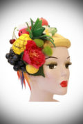 Fruit Salad Half Hat - a kidney-shaped fascinator, inspired by the 50s & Carmen Miranda. Ideal for weddings. Effortless Vintage style in an instant!