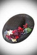 The Julia Floral Hat is adorned with beautiful flowers and berries. Ideal for weddings. Effortless Vintage style in an instant!