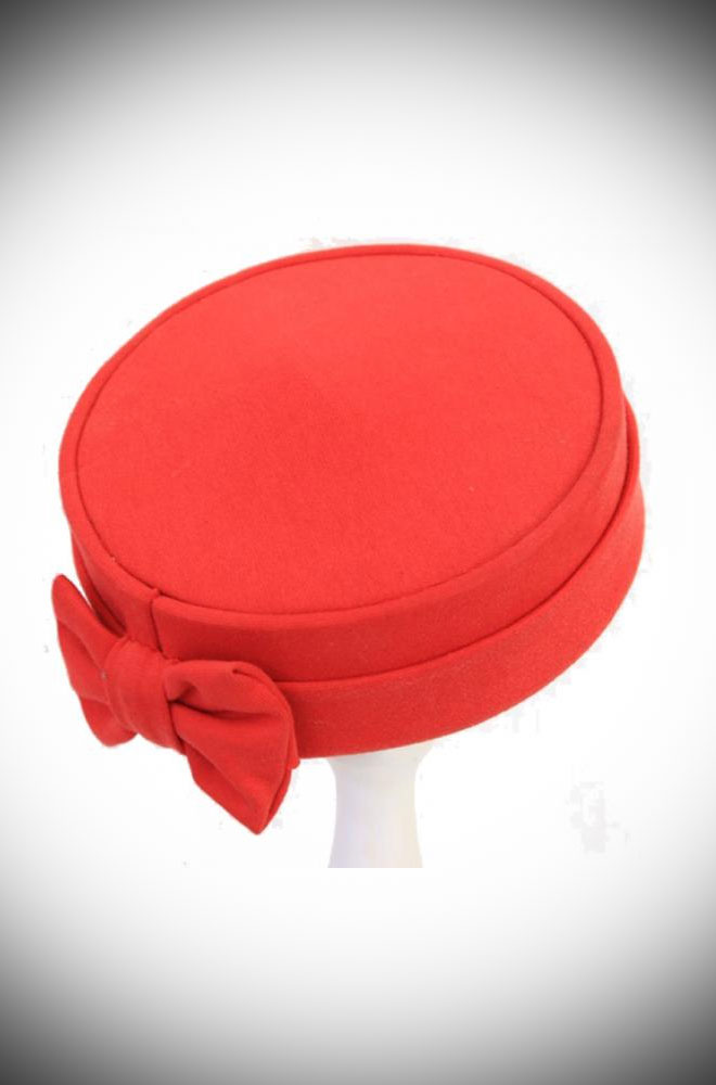 The Red Pillbox Hat is a timeless classic which adds sophistication to your look in a flash! Ideal for weddings. Effortless Vintage style in an instant!