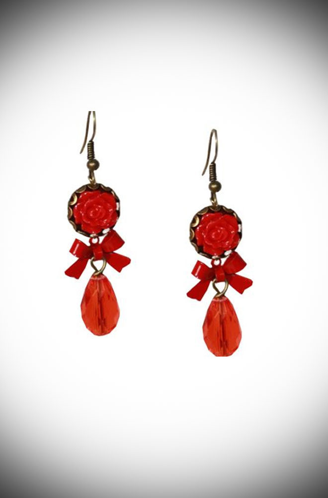 These wonderful Red Rose Earrings are a dream come true. They are simple, elegant and chic. Available now at DeadlyistheFemale.com