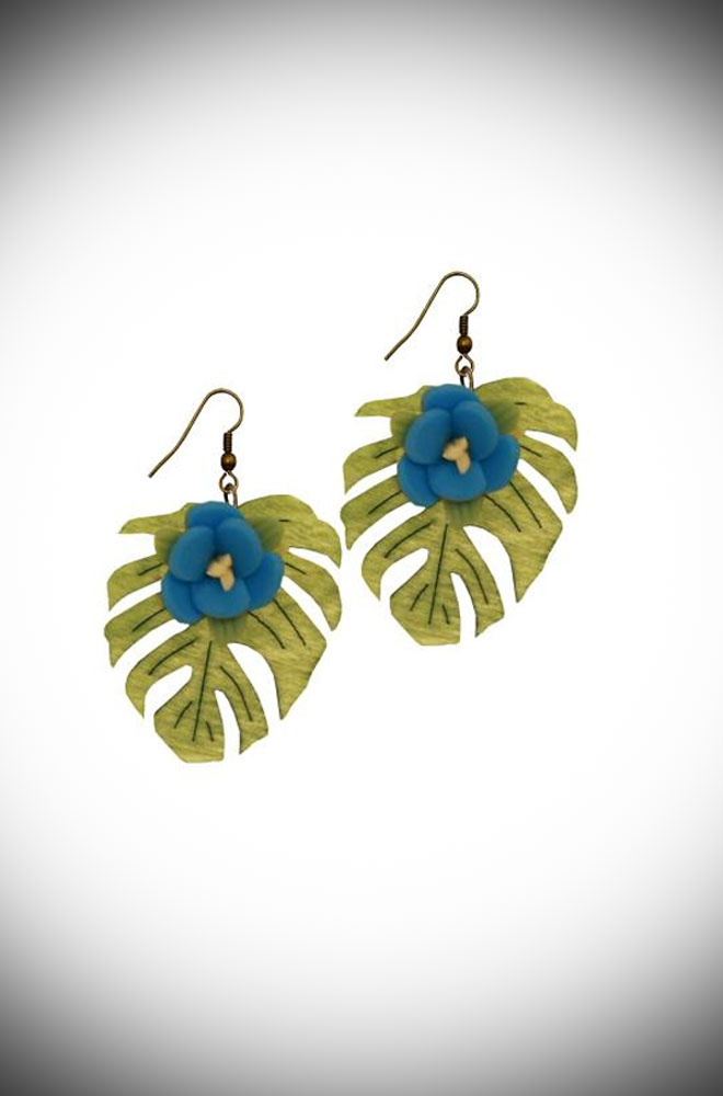 Instant retro, tropical style Blue Blossom Earrings. The perfect finishing touch to your summer outfit. Available now at DeadlyistheFemale.com