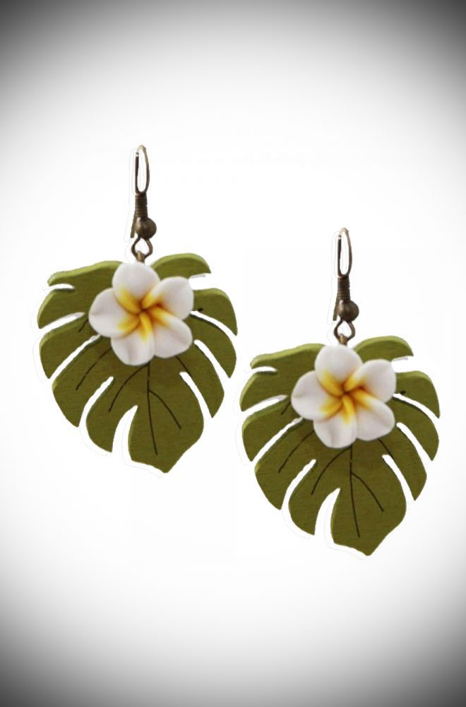 Instant retro, tropical style White Blossom Earrings. The perfect finishing touch to your summer outfit. Available now at DeadlyistheFemale.com