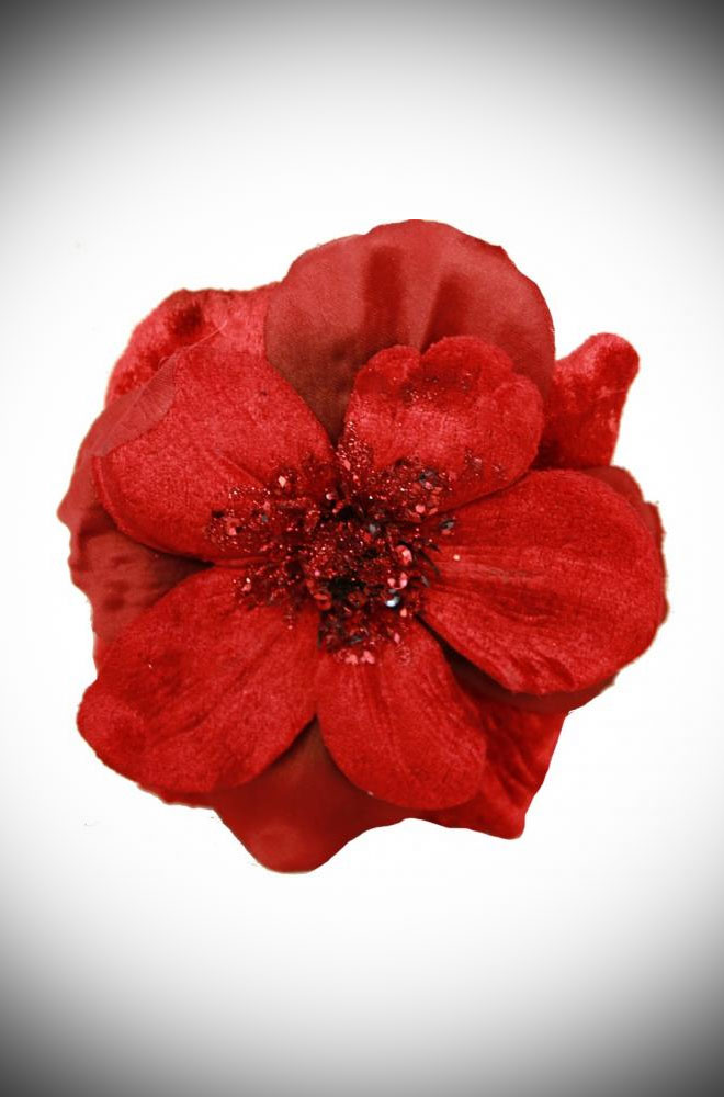 Red Anemone Hair Clip - a remarkably detailed flower with delicate petals made of velvet. This stunning piece has been carefully handmade.