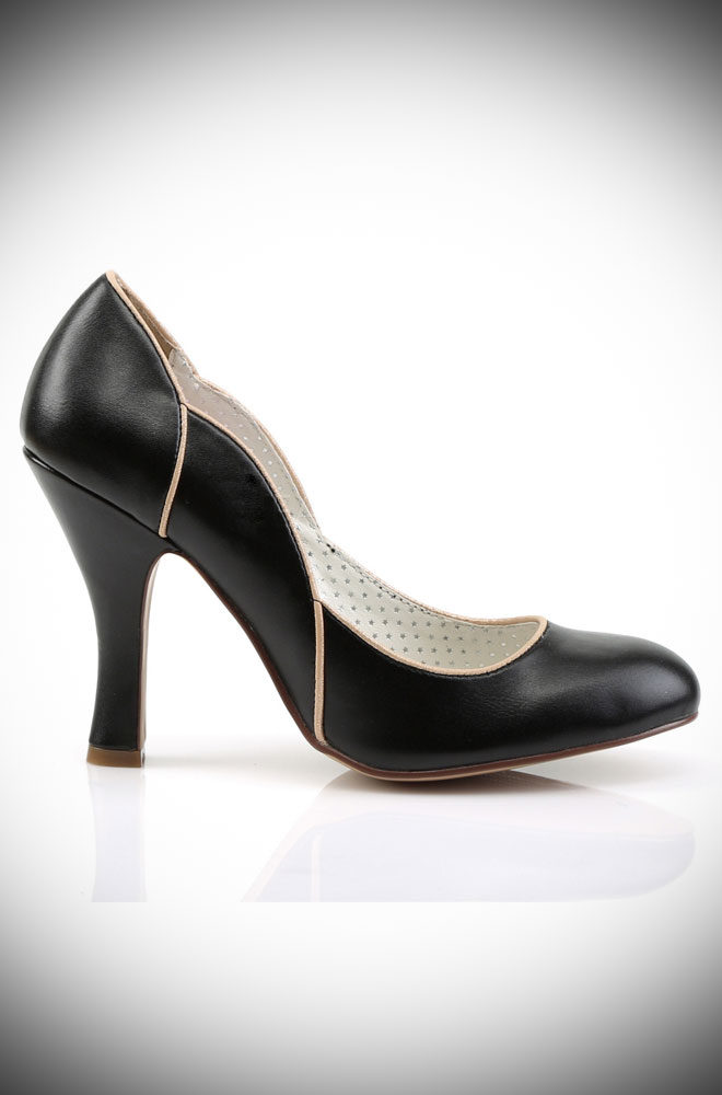 These Black Smitten Shoes are timeless vintage style shoes. These fabulous heels are trimmed in a soft golden tone which pairs well with everything.