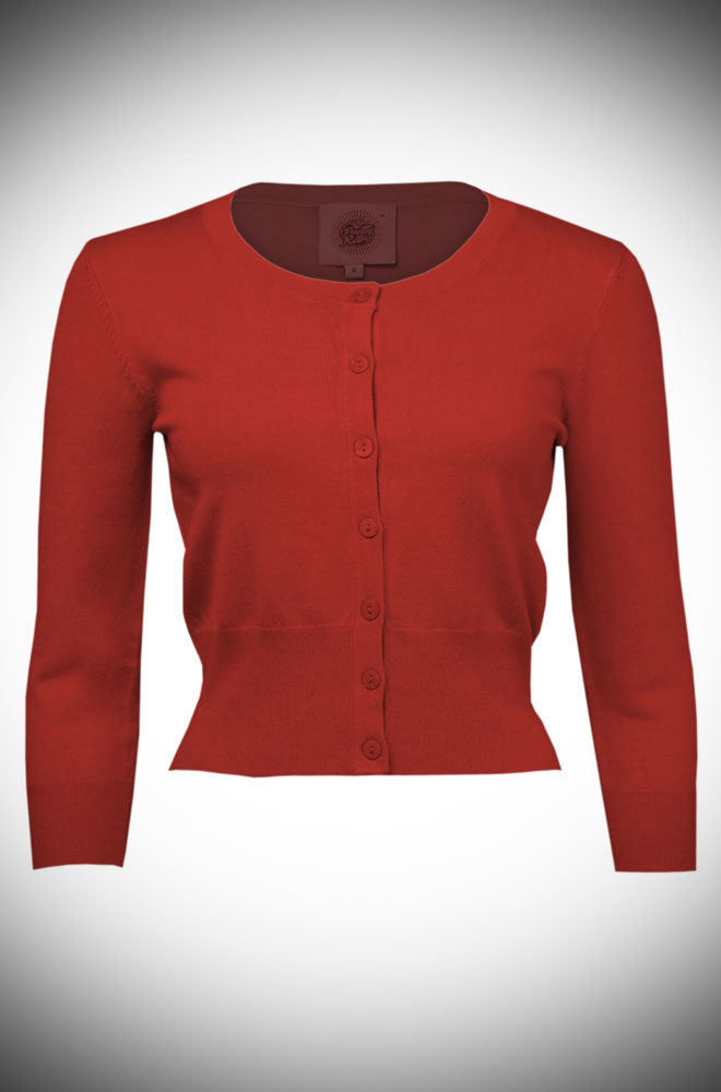 The Red Pretty Cardigan is a wardrobe essential. Throw it on day or night to stay warm and stylish! Perfect for pinups at DeadlyistheFemale.com