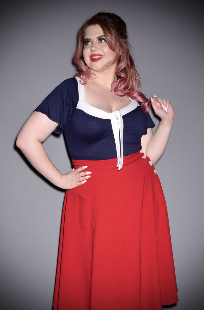 The Nautical Pretty Tie Top instantly adds some retro style to your everyday wardrobe. Perfect for pinups at DeadlyistheFemale.com