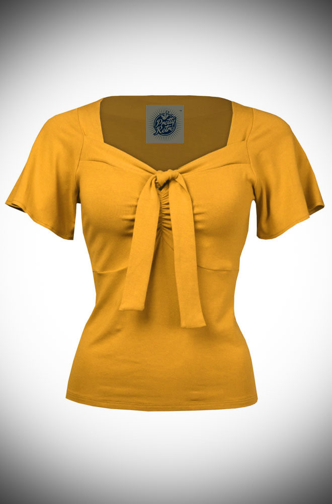 The Mustard Pretty Tie Top instantly adds some retro style to your everyday wardrobe.Perfect for pinups at DeadlyistheFemale.com