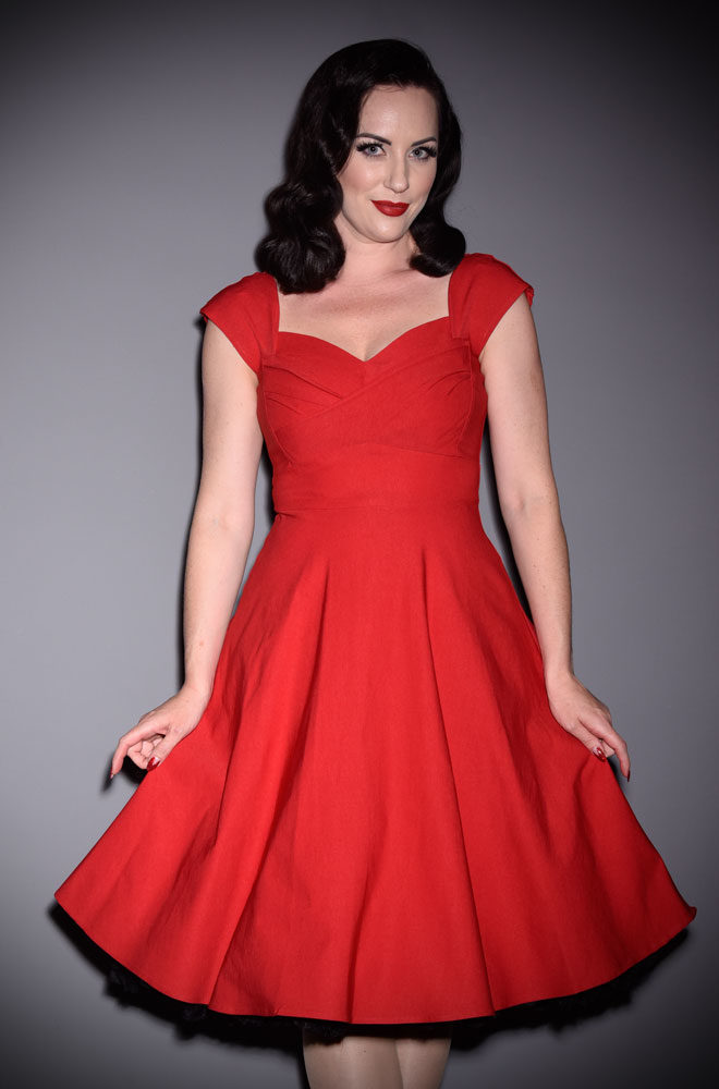 50's Red Mad Style Swing Dress at Stop Staring! official UK stockists Deadly is the Female. A pin up dress in red. High quality vintage reproduction.