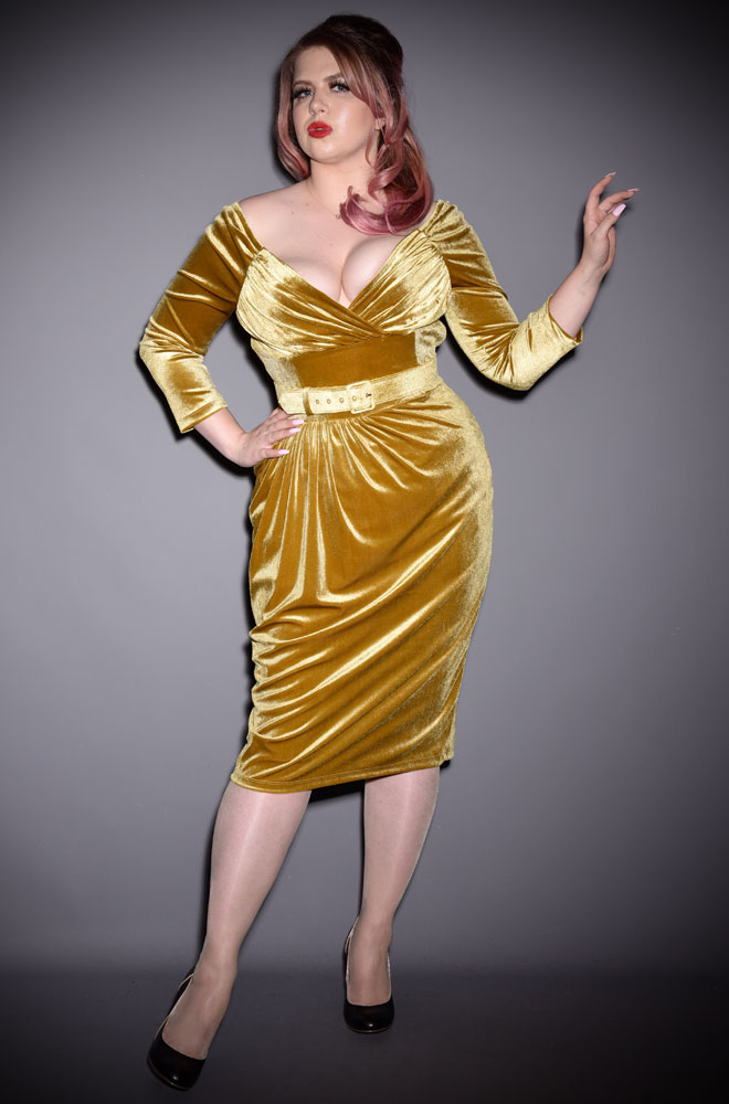 "The Gold Velvet Starlet Dress is the ultimate ""Old Hollywood"" cocktail dress. Deadly is the Female are official UK stockists of Vixen by Micheline Pitt."