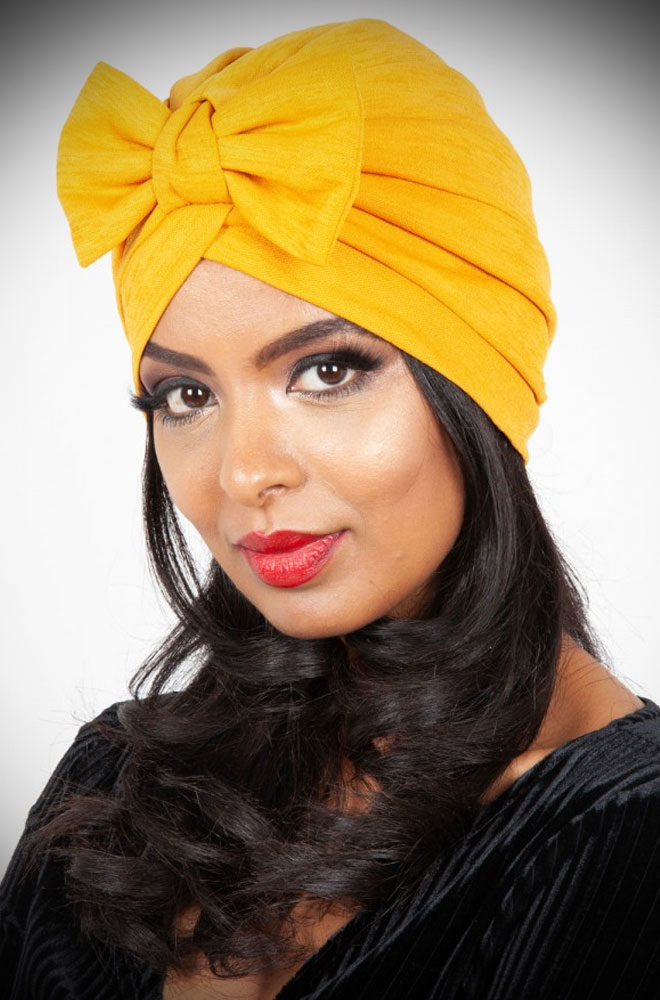 """Save a bad hair day & get instant vintage style? What's not to like about theMustard Bow Turban! It hides a multitude of hair """"woes""""!"""