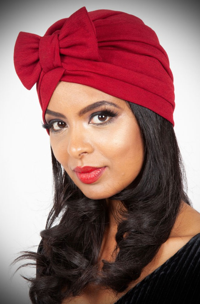 "Save a bad hair day & get instant vintage style? What's not to like about the Burgundy Bow Turban! It hides a multitude of hair ""woes""!"
