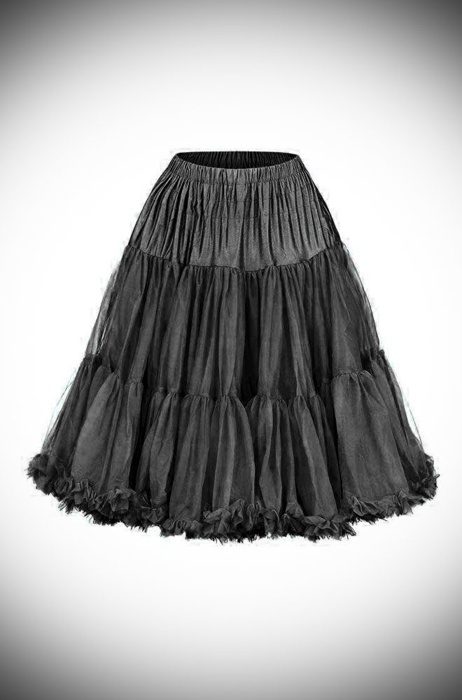 This vintage style Black 50's Chiffon Petticoat, also sometimes called a crinoline, is soft & comfortable under your favourite swing dress or circle skirt.