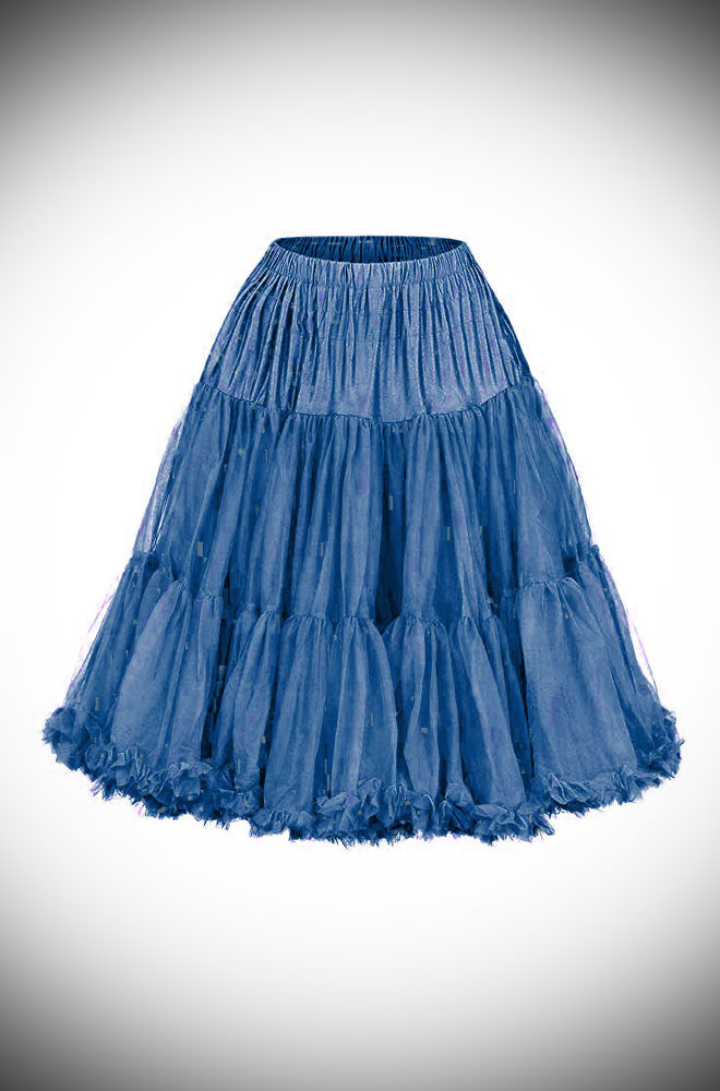 This vintage style Navy 50's Chiffon Petticoat, also sometimes called a crinoline, is soft and comfortable under your favourite swing dress or circle skirt.