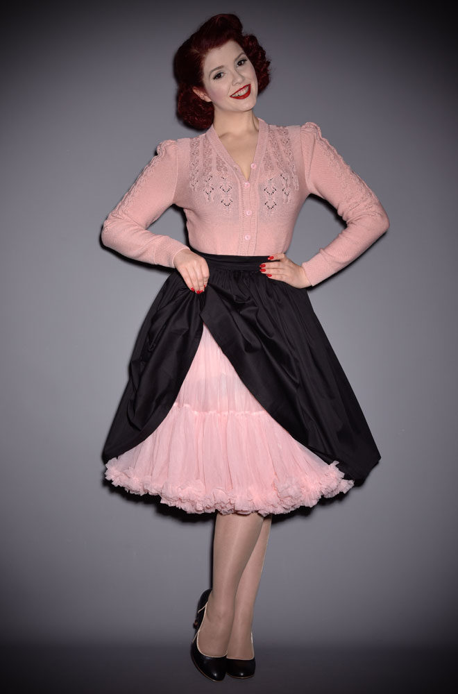 This vintage style pale Pink 50's Chiffon Petticoat is soft & comfortable under your favourite swing dress or circle skirt.