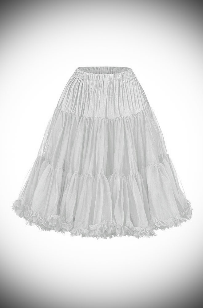 This vintage style White 50's Chiffon Petticoat, also sometimes called a crinoline, is soft and comfortable under your favourite swing dress or circle skirt.