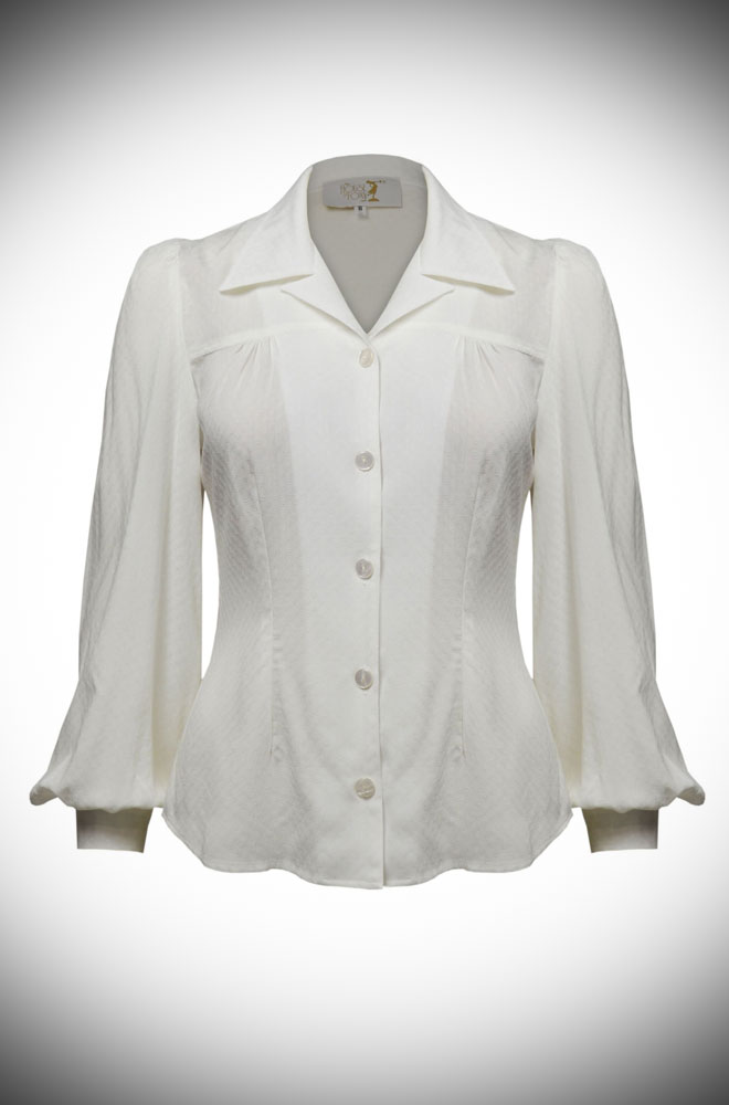 Ivory 40s Blouse - with demure neckline, shoulder & back yokes & bishop sleeves. The neckline is faithful to the original & is surprisingly sexy