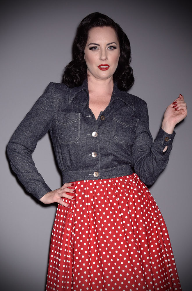 Americana Jacket - an authentic 1940s silhouette with strong shoulders & nipped in waist. The body blousons over and we adore the bishop sleeves.