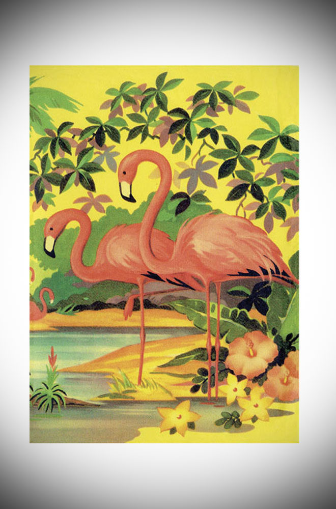 This retro greetings card features a tropical illustration of flamingos in pinks, yellows and greens. Available at Deadly is the Female.
