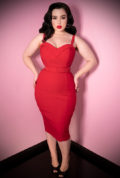 The Red Maneater Wiggle Dress is a real bombshell! The killer silhouette is a bad gals dream. Deadly is the Female are UK stockists of Vixen by Micheline Pitt.